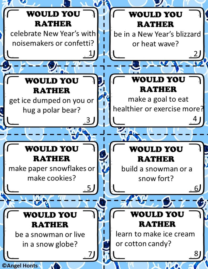 January Would You Rather Questions and Activities - Learn